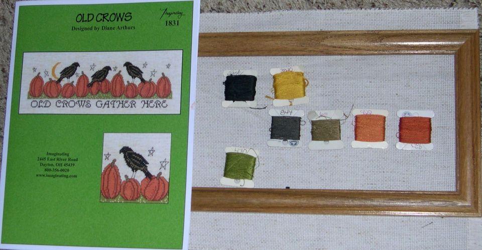 """Old Crows"" Designed by Diane Arthurs14 count fiddlers LiteDMC floss10 X 22 1/2 frame"